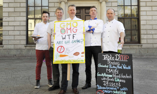 L to R Anthony O'Toole (Cef consultant), Graham Neville ( Residence Restaurant), Ross Lewis (Chapter One), Evan Doyle (Strawberry Tree at Brooklodge) Kevin O'Toole (Chameleon). Clodagh Kilcoyne Photography