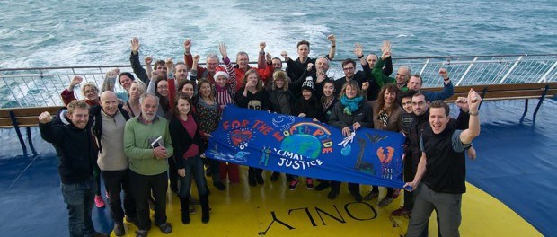 Stop climate chaos participants on the boat to cherbourg (c) Eoin Campbell