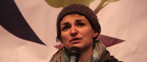 Aurelie Trouve, pictured on stage in front of the ARC2020 banner at Wir Haben Es Satt 2016 in Berlin.