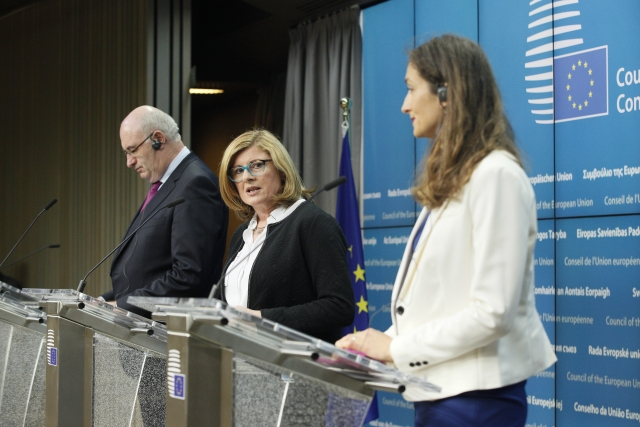 "From left to right: Mr Phil HOGAN, Member of the European Commission; Ms Gabriela MATECNA, Slovak Minister for Agriculture. Credit: ""The European Union"""